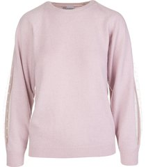 red valentino pink sweater with point desprit detail