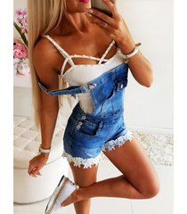 tirantes ajustables azules square cuello denim playsuits