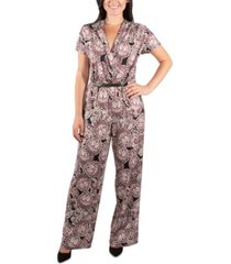 ny collection pleated front belted jumpsuit