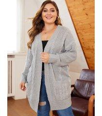plus size grey pocket design open front cardigan