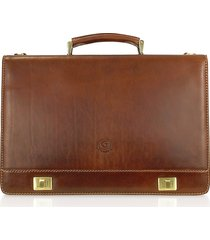 chiarugi designer briefcases, handmade brown genuine italian leather multi-pocket briefcase