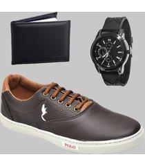 sapatenis casual masculino café com carteira e relógio