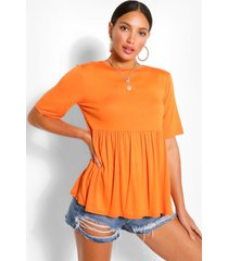 tall gesmokte jersey top, oranje
