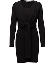 high twist l/s dress w/ front tie knälång klänning svart t by alexander wang