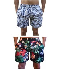 kit 2 bermuda short moda praia estampada dollar e tucano
