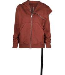 rick owens drkshdw slouchy hood zip-up jacket - red