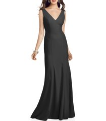 women's dessy collection crepe trumpet gown, size 14 - black