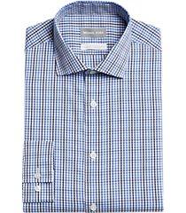michael kors slim fit dress shirt blue check