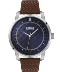 hugo men's #reveal brown leather strap watch 44mm