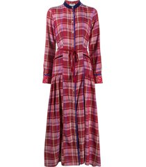 forte forte checked shirt maxi dress - red