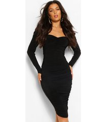 padded shoudler ruched midi dress, black