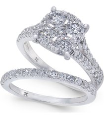 diamond cluster & pave bridal set (2 ct. t.w.) in 14k white gold