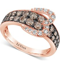 le vian chocolate diamond (1-1/20 ct. t.w.) & nude diamond (1/5 ct. t.w.) heart buckle statement ring in 14k rose gold