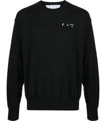 off-white logo-print cotton sweatshirt - black