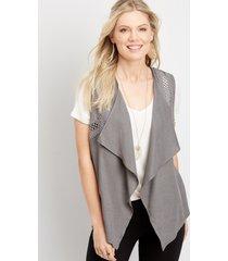 maurices womens crochet trim vest gray