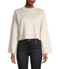 lea & viola women's cropped sweater - oatmeal - size l