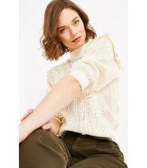 ażurowy sweter z falbanką