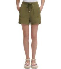 karl lagerfeld paris button-trim drawstring-waist shorts