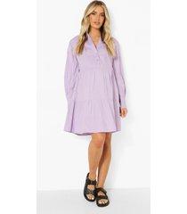 zwangerschap gesmokte katoenen jurk met laagjes, purple