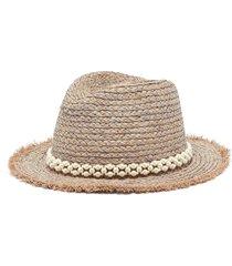 pearl embellished rafia hat