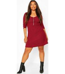 plus soft rib zip front skater dress, berry