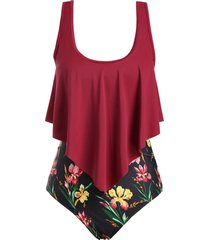 overlay flounces floral strappy plus size one-piece swimsuit