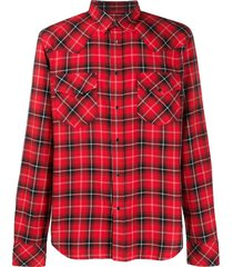 diesel check flannel western shirt - red