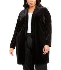 alfani plus size open-front long velvet jacket, created for macy's