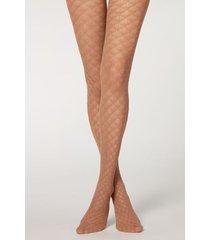 calzedonia eco q-nova triangle mesh tights woman nude size 3/4