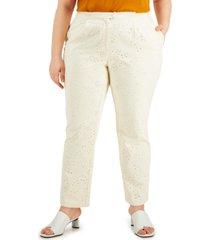 alfani plus size eyelet pants, created for macy's
