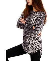 inc petite leopard-print shirttail-hem tunic sweater, created for macy's