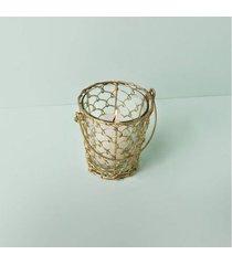luminária porta-vela aruba cor: ouro - tamanho: único