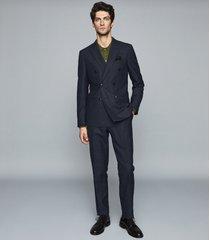 reiss trafford - merino wool polo shirt in olive, mens, size xxl