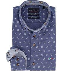 blauw overhemd print portofino tailored fit
