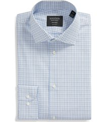 men's nordstrom extra trim fit non-iron plaid dress shirt, size 14.5 - blue