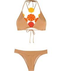 amir slama high-leg bikini set - neutrals
