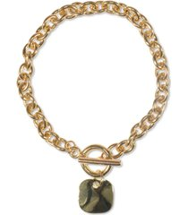 charter club gold-tone hammered square charm link bracelet, created for macy's