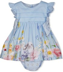lapin house animal-print detail overall set - blue