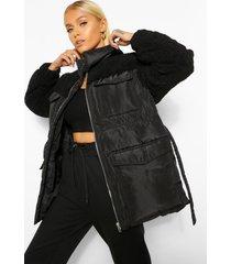 gewatteerde teddy jas met ceintuur en faux fur paneel, black
