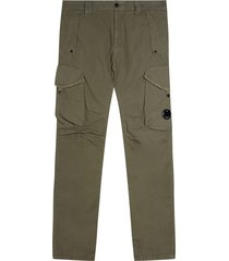 cp company garment dyed cotton ripstop lens trousers | dark olive | 333a-5699 651