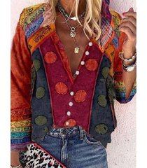 camicetta con bottoni e colletto a maniche lunghe con stampa vintage