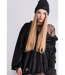 bluza oversize black fluffy hoodie