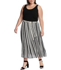 vince camuto plus size variegated graphic striped skirt