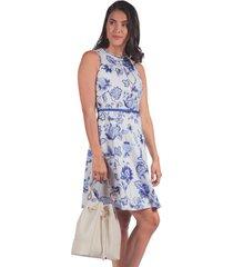 vestido adrissa perfecto estampado con crocheta azul hortencia