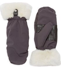 water-resistant nylon & shearling-cuff mittens