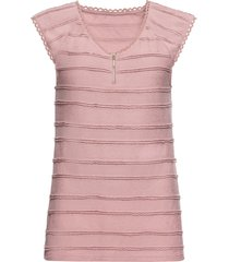 maglia con pizzo e zip (rosa) - bodyflirt