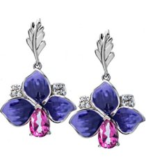 pink topaz (7/8 ct.t.w) and enamel flower earrings in sterling silver