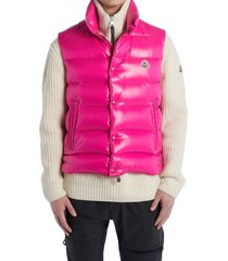 men's moncler tib water resistant down puffer vest, size 4 - pink