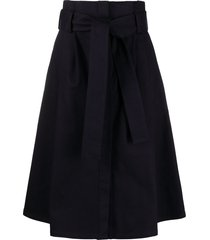 p.a.r.o.s.h. belted a-line midi skirt - blue