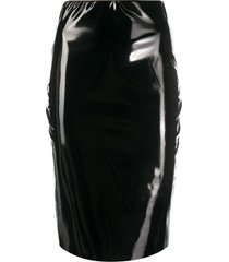 alchemy coated fitted midi skirt - black